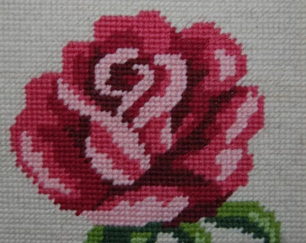 70's framed cross stitch rose picture, Made in Finland