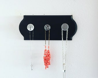 Jewelry holder, necklace holder, jewelry hanger, jewelry rack, jewelry organizer, wood plaque with knobs, jewelry display, coat rack