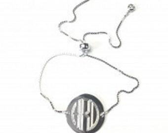 Monogrammed Engraved Bracelet, Adjustable Bracelet, Stackable Bracelet, Sterling Silver, Gold