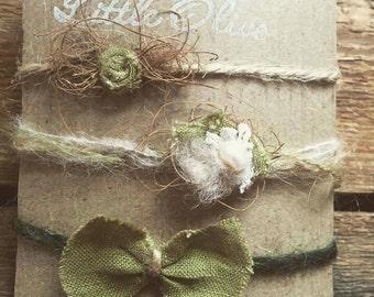 Green Love Set of Tieback for Newborn Photographers Prop