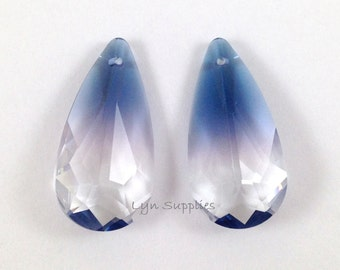 6100 OCEAN BLUE 24x12mm Swarovski Crystal Teardrop Pendant RARE 2 pieces