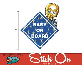 C3PO & R2D2 Baby on Board Sticker
