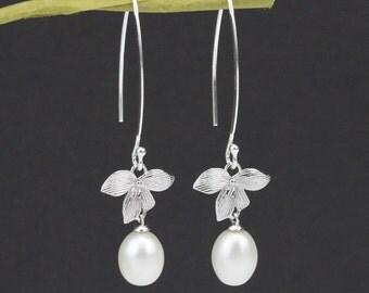 freshwater pearl dangle earrings,long earrings,long pearl earrings wedding,pearl drop earrings,,drop pearl earrings,bridesmaid earrings gift