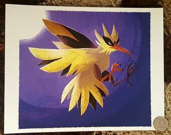 "8x10"" Pokemon go legendary bird Zapdos fine art print"