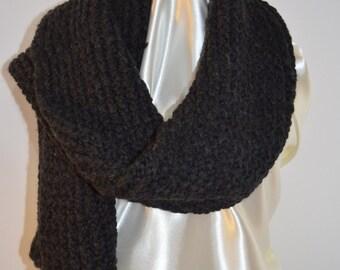 black scarf in pure alpaca wool, shawl