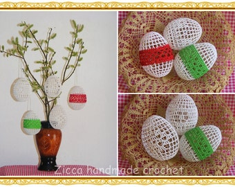 Crochet Easter eggs -set of 5- PDF pattern, Crochet  Easter eggs ornament pattern