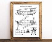 """Boeing CH-47 Chinook Blueprint, Helicopter Blueprint, Instant Download, Helicopter, CH-47 Chinook, Aviation Art, Blueprint Art, 8x10, 11x14"""""""