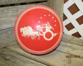 Vintage Red White Chariot Tin Can Canister Container Horses