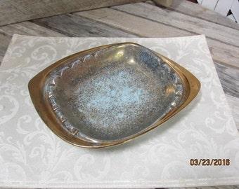 Large Vintage Ceramic Cigar Tabletop Ashtray Mid Century Blue Gold Pottery USA 13 x 10