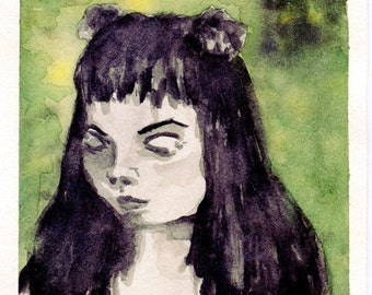 """Original Art, Watercolor Portrait of Grumpy Girl with Black Hair, Green & Yellow, Small Painting by Danni Moresi – """"Grumpy"""""""