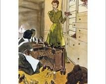 50% Off Estate Sale Vintage Vogue Dog Poster Print, Canine Couture, 1940s Shoes and Dog Picture Art Deco Fashion Art, Dog Art