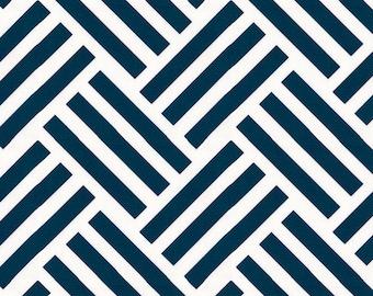 Navy Basketweave Fabric - By The Yard - Girl / Boy / Gender Neutral