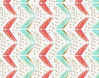 Coral and Teal Chevron Organic Fabric - By The Yard - Girl / Boy / Gender Neutral