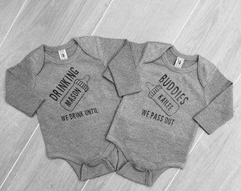 Drinking buddies onesie, twins, twin onesies, best friend onesies, twin shirts, bottoms up, drink until we pass out, baby gift, bottles