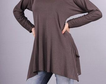 Tunic, Brown blouse, Loose tunic, Top with long sleeves by UrbanMood - CO-HANA3-VL