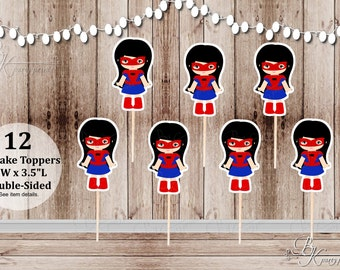 Action Superhero Girl Party - Set of 12 Spidergirl Inspired Double Sided Cupcake Toppers