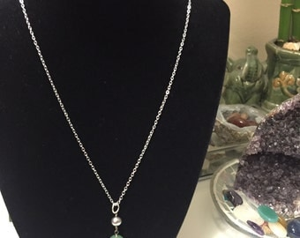 Dainty Jade and fresh water pearl necklace