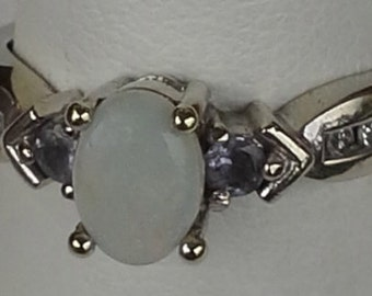 Vintage estate 14K white gold ring opal, tanzanite and diamonds