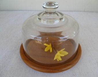 Glass Dome Cloche Teak Wood Cheese Board