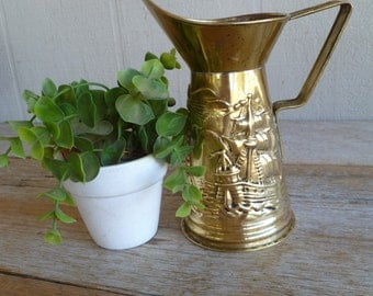 Beautiful Vintage Brass Jug Pitcher Metal Peerage England