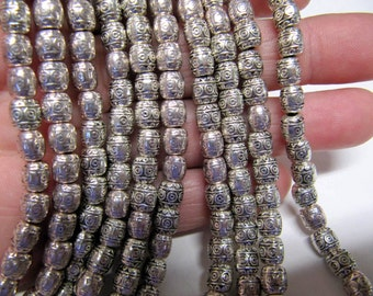 Metal Tibetan Spacer Beads, Antiique Silver, Barrel, 7 MM, 34 Beads, Lead, Cadmium & Nickle Free, 000715RS