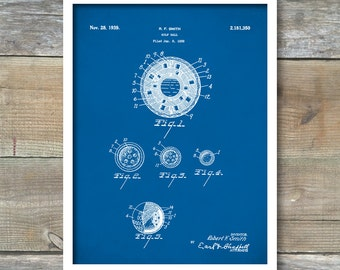 Golf Patent Print, Golf Ball Patent Poster, Golf Print, Golf Decor, Antique Golf, Vintage Golf, Golf Decorations, Golf Gift, P337