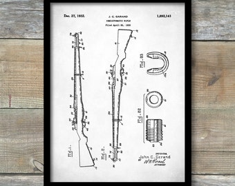 M-1 Rifle Patent Print, Rifle Patent Poster, Gun Lovers, Man Cave, Rifle, Firearm, Gun Wall Decor P364