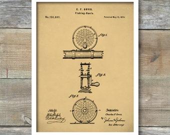 Patent Poster, Fly Fishing Reel, Fishing Reel Wall Art, Fisherman Gift, Cabin Decor, Outdoorsman, P369