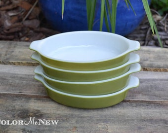 Set of 4 Pyrex 700 Pixie Individual Casserole Dishes in Avocado Green