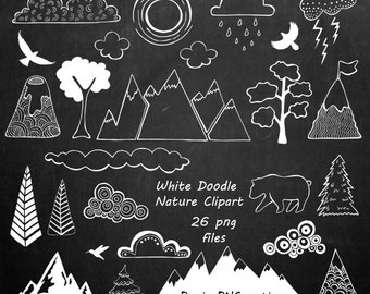 White Doodle Nature Clipart, Hand Drawn Mountain Clipart, Clouds clip art, PNG, For Personal and Commercial Use