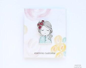 "Illustrated brooch ""Chloé"" esencia custome"