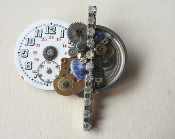 Steampunk brooch made from old clock parts-brooch of vintage watch parts