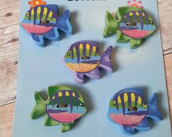 Wooden Tropical Fish Buttons Set of 5