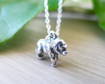Sterling Silver Gorilla Necklace, Jungle Jewelry, Silver Back, Tiny Gorilla, Small Gorilla, 3D Gorilla Necklace, Tarzan Necklace