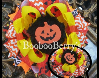 halloween hair bow, jack o lantern hair bow, pumpkin hair bow, stacked hair bow