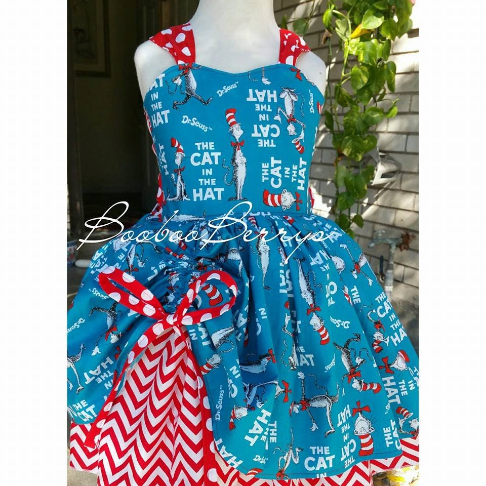 Cat in the hat boutique dress dr seuss theme dress red white for Doctor who themed wedding dresses