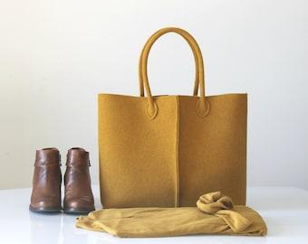 Elegant and Casual Mustard Felt Bag from Italy, Tote Bag, Felt bag, Handmade Bag, gift for her, stocking fillers.