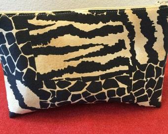 Animal print cosmetic bag
