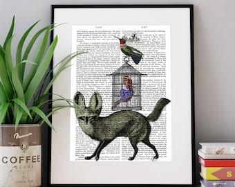 Fox Wall Art Fox And Birdcage Fox Wall Art Unique Gift For Friend Woodland