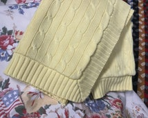 Original authentic Ralph Lauren yellow cable knit standard pillow sham