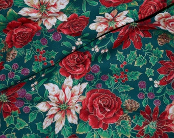 Christmas Rose Poinsettia Holly Fabric VIP Cranston 1 1/4 Yards