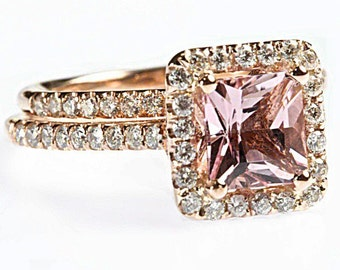 1.87 cttw 18k Rose Gold Princess Morganite Diamond Halo Bridal Set