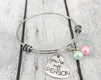 You're my person - Best friends bracelet - You're my person jewelry - Couples Jewelry - Personalized hand stamped bracelet - Greys Anatomy
