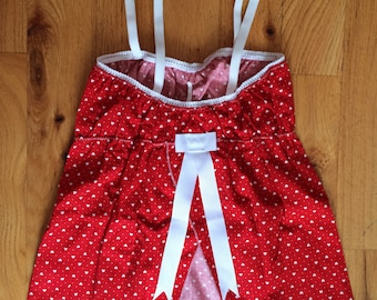 Red and little hearts pattern top, women's tube top, pajamas, white bow on back, made in Montréal