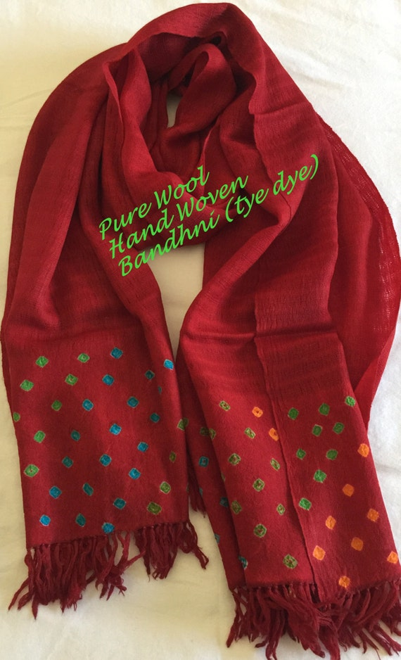 Hand Woven in pure lambs wool scarf stole shawl in rich vibrant Red bordered with tye dye (bandhni) pattern