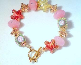 Handmade Bracelet, Beachy Bracelet, Starfish Bracelet, Beachwear Bracelet, Lamp Work  Bracelet, Ocean Theme Jewelry, Pink Lamp Work Beads