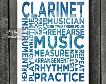 Clarinet Art - INSTANT DOWNLOAD Clarinet Poster Print - Typography Music Poster - Clarinet Gifts Music Wall Art - Clarinet Print Music Gifts