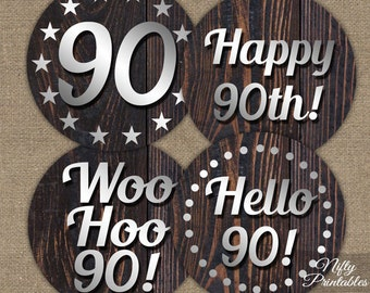 90th Birthday Cupcake Toppers - Wood 90th Birthday Party Printables - Mens Birthday Cupcake Toppers - Rustic 90th Birthday Decorations SWD