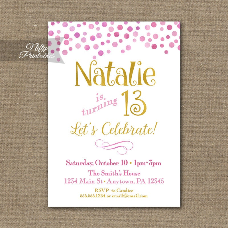 Teen Birthday Invitations Pink Gold Birthday Party