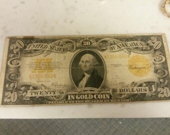 1922 US Gold Note 20 Dollar Payable in Gold Washington DC Federal Reserve Series USA